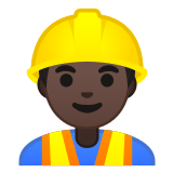 👷🏿‍♂️ Man Construction Worker: Dark Skin Tone, Emoji by Google