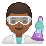 👨🏾‍🔬 Man Scientist: Medium-Dark Skin Tone, Emoji by Google