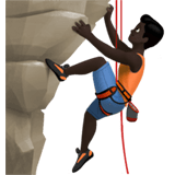 🧗🏿‍♂️ Man Climbing: Dark Skin Tone, Emoji by Apple