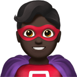 🦸🏿‍♂️ Man Superhero: Dark Skin Tone, Emoji by Apple