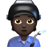 🧑🏿‍🏭 Factory Worker: Dark Skin Tone, Emoji by Apple