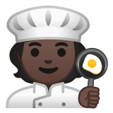 🧑🏿‍🍳 Cook: Dark Skin Tone, Emoji by Google
