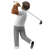 🏌🏾 Person Golfing: Medium-Dark Skin Tone, Emoji by Apple