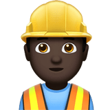 👷🏿‍♂️ Man Construction Worker: Dark Skin Tone, Emoji by Apple