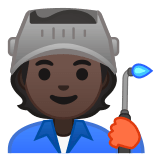 🧑🏿‍🏭 Factory Worker: Dark Skin Tone, Emoji by Google