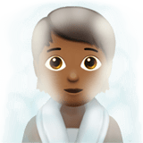 🧖🏾 Person in Steamy Room: Medium-Dark Skin Tone, Emoji by Apple