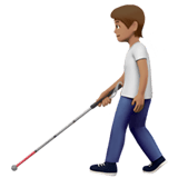 🧑🏽‍🦯 Person with White Cane: Medium Skin Tone, Emoji by Apple