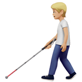 🧑🏼‍🦯 Person with White Cane: Medium-Light Skin Tone, Emoji by Apple