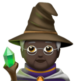 🧙🏿 Mage: Dark Skin Tone, Emoji by Apple