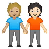 🧑🏼‍🤝‍🧑🏻 People Holding Hands: Medium-Light Skin Tone, Light Skin Tone, Emoji by Google