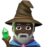 🧙🏿‍♂️ Man Mage: Dark Skin Tone, Emoji by Apple