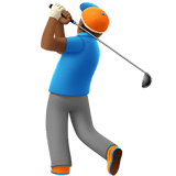 🏌🏾‍♂️ Man Golfing: Medium-Dark Skin Tone, Emoji by Apple