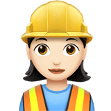 👷🏻‍♀️ Woman Construction Worker: Light Skin Tone, Emoji by Apple