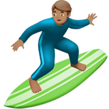 🏄🏽‍♂️ Man Surfing: Medium Skin Tone, Emoji by Apple